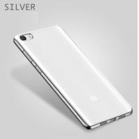 Чехол бампер плотный силиконовый прозрачный хром Xiaomi Mi5s